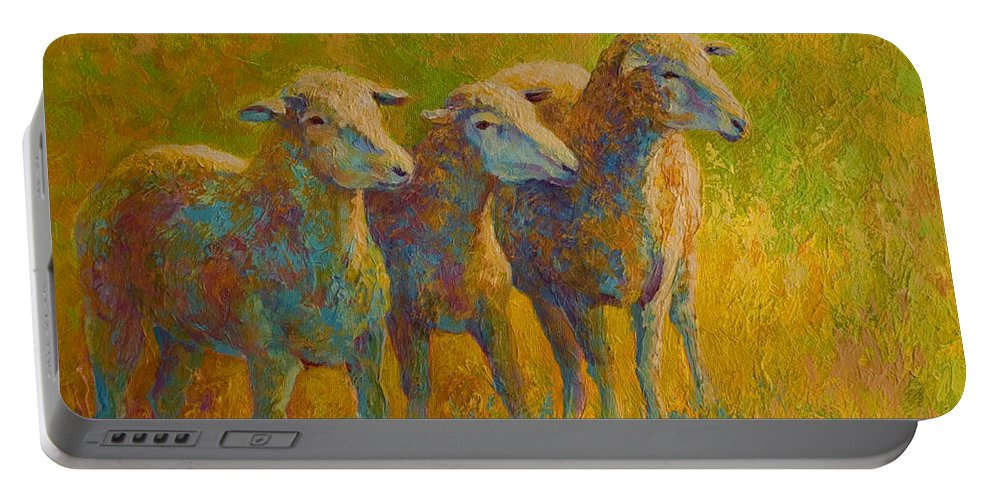 Llama Portable Battery Charger featuring the painting Sheep Trio by Marion Rose