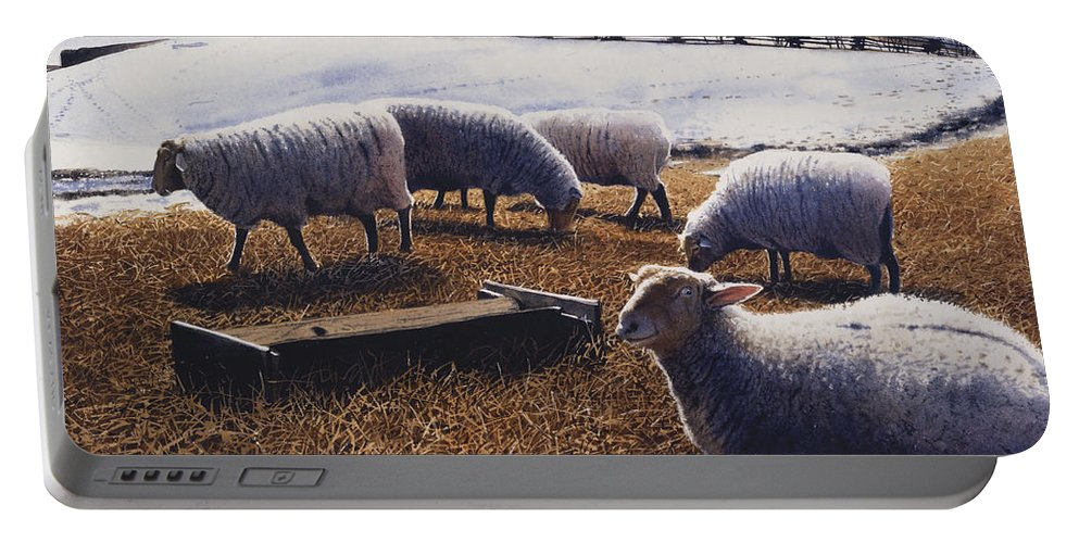 Sheep Portable Battery Charger featuring the painting Sheepish by Denny Bond