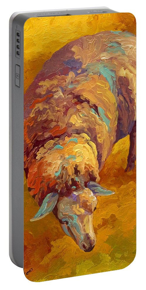 Llama Portable Battery Charger featuring the painting Sheepish by Marion Rose