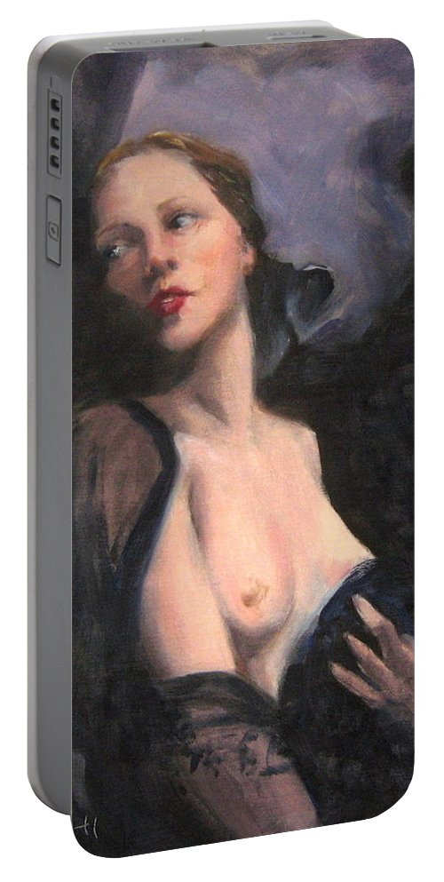 Vintage Portable Battery Charger featuring the painting Sheer Wrap by Connie Schaertl