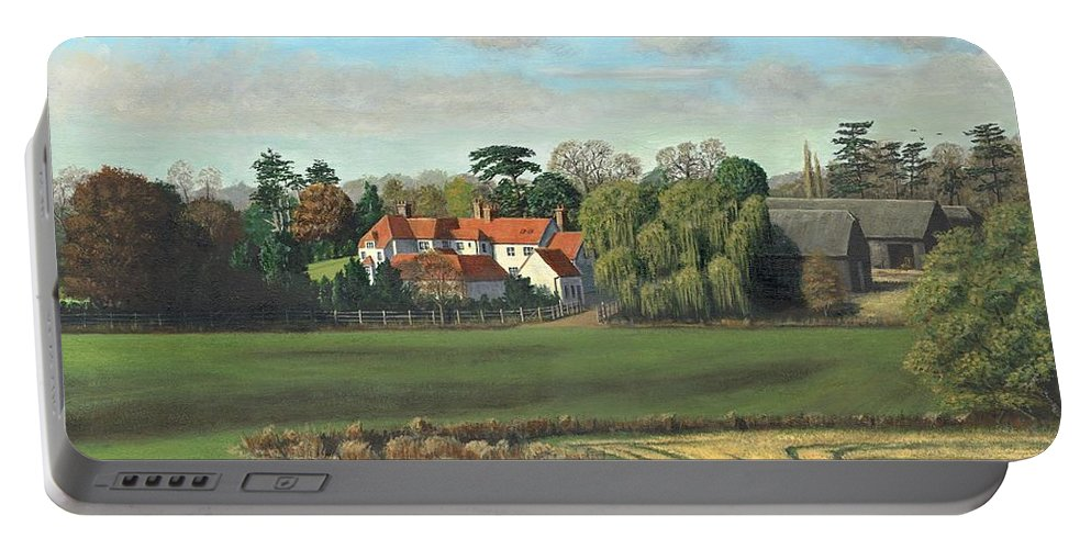 Landscape Portable Battery Charger featuring the painting Sheering Hall Near Harlow Essex by Richard Harpum