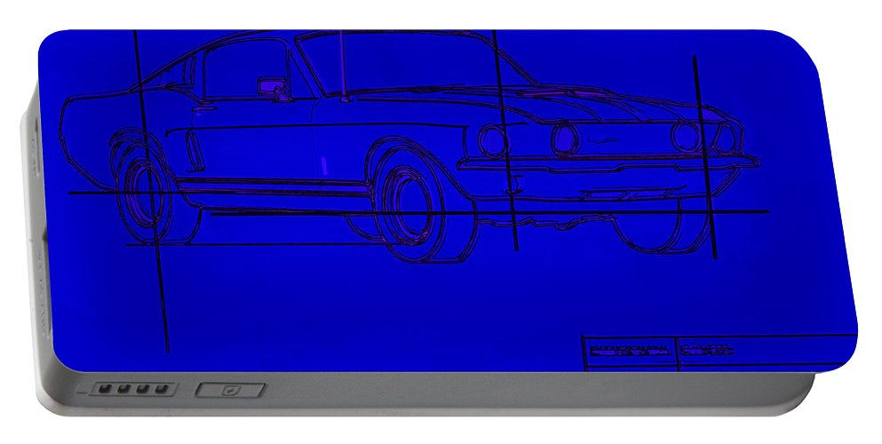 Ford Portable Battery Charger featuring the photograph Shelby Gt Mustang Blueprint by Tommy Anderson
