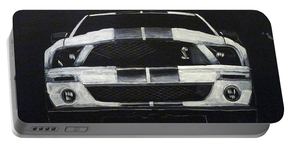 Shelby Portable Battery Charger featuring the painting Shelby Mustang Front by Richard Le Page
