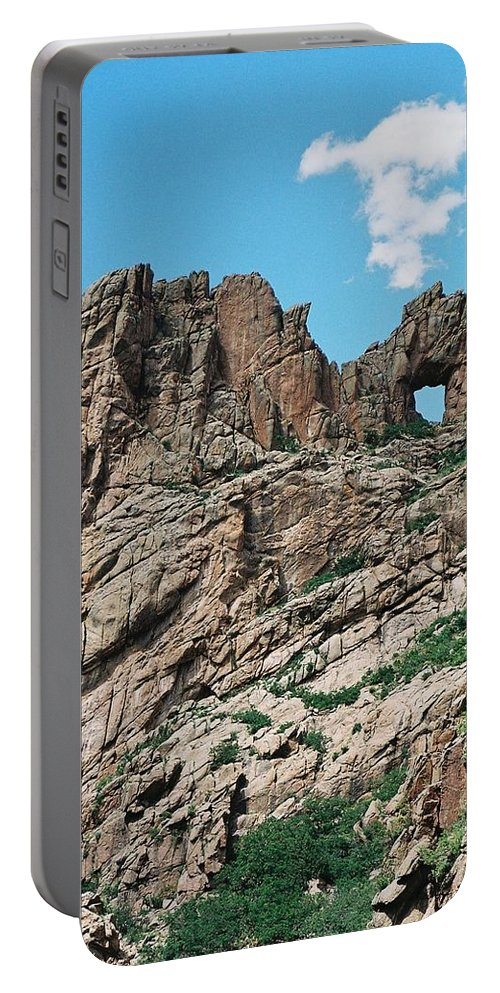 Shelf Road Portable Battery Charger featuring the photograph Shelf Road rock formations by Anita Burgermeister