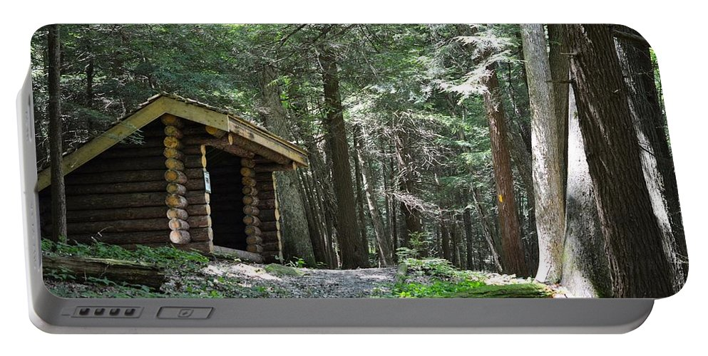 Log Portable Battery Charger featuring the photograph Shelter On Hemlock Trail by Shelley Smith