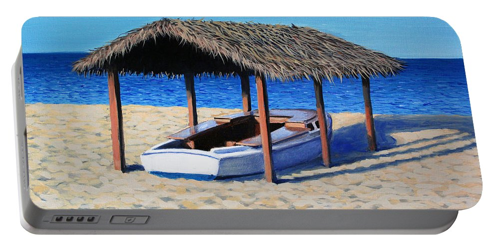 Boat Portable Battery Charger featuring the painting Sheltered Boat by Paul Walsh