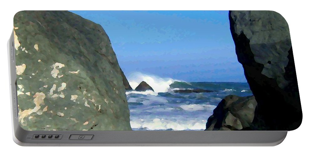 Seascape Portable Battery Charger featuring the photograph Sheltered From The Wind by Will Borden
