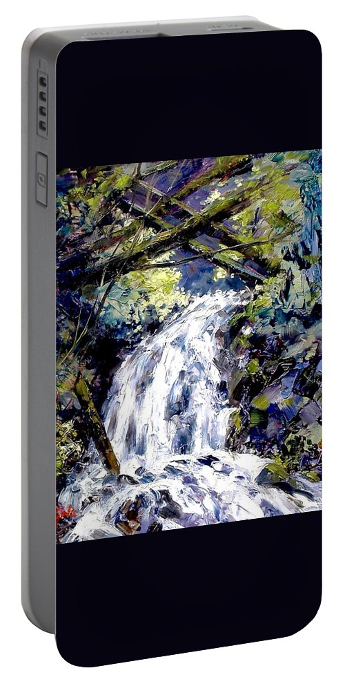 Landscape Portable Battery Charger featuring the painting Shepherds Dell Falls Coumbia Gorge Or by Jim Gola