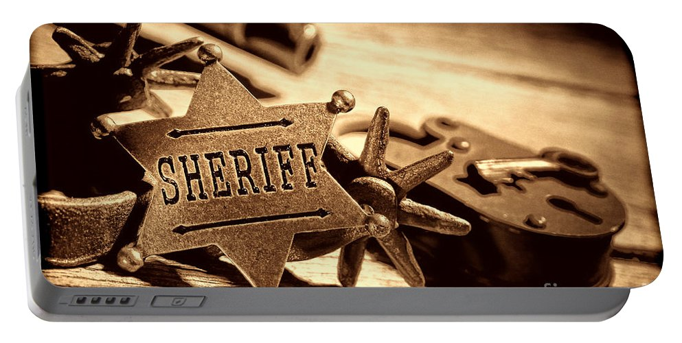 Sheriff Portable Battery Charger featuring the photograph Sheriff Tools by American West Legend By Olivier Le Queinec