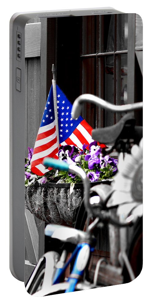 Flag Portable Battery Charger featuring the photograph She's A Grand Old Flag by Greg Fortier