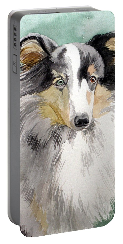 Dog Portable Battery Charger featuring the painting Shetland Sheep Dog by Christopher Shellhammer