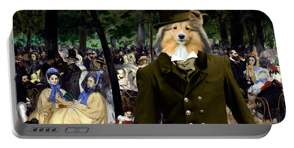 Sheltie Portable Battery Charger featuring the painting Shetland Sheepdog Art Canvas Print - Music In The Tuileries Gardens by Sandra Sij