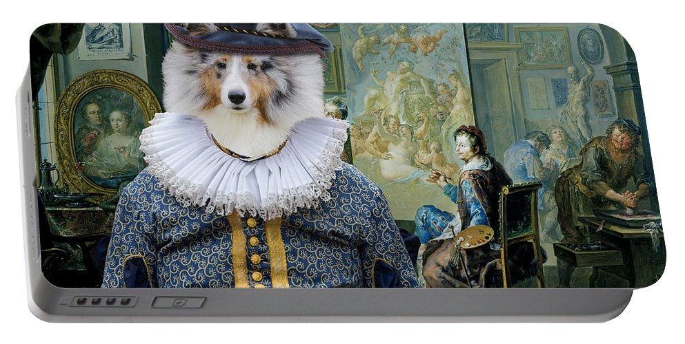 Sheltie Portable Battery Charger featuring the painting Shetland Sheepdog Art Canvas Print - The Painter And His Studio by Sandra Sij