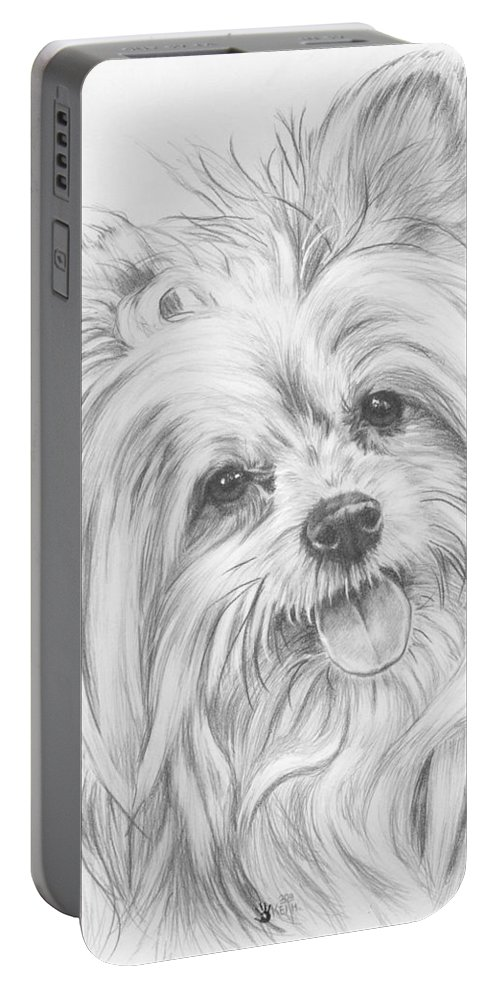Designer Dog Portable Battery Charger featuring the drawing Shi-chi by Barbara Keith