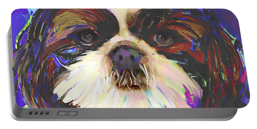 Shih Tzu Portable Battery Charger featuring the painting Shih Tzu 4 by Jackie Jacobson
