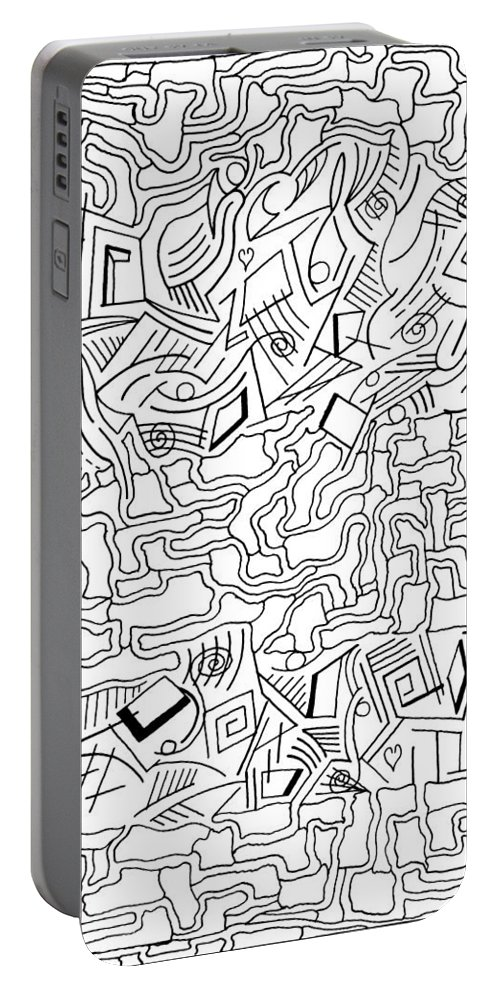 Mazes Portable Battery Charger featuring the drawing shikShana by Steven Natanson