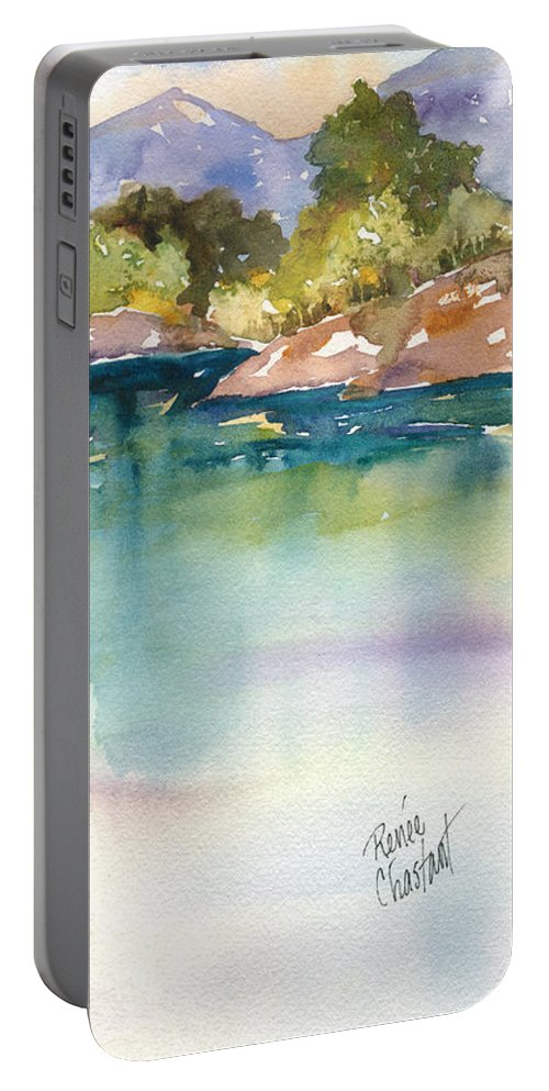 Shimmer Portable Battery Charger featuring the painting Shimmer Lake by Renee Chastant