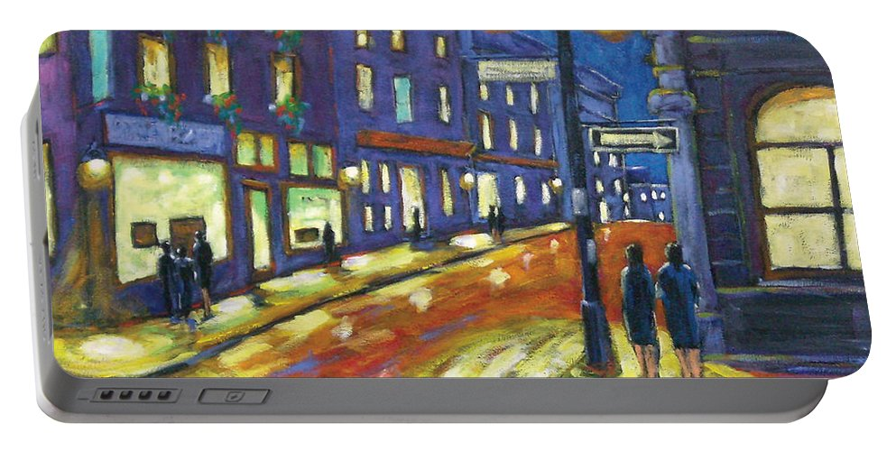 Night Portable Battery Charger featuring the painting Shimmering Night by Richard T Pranke