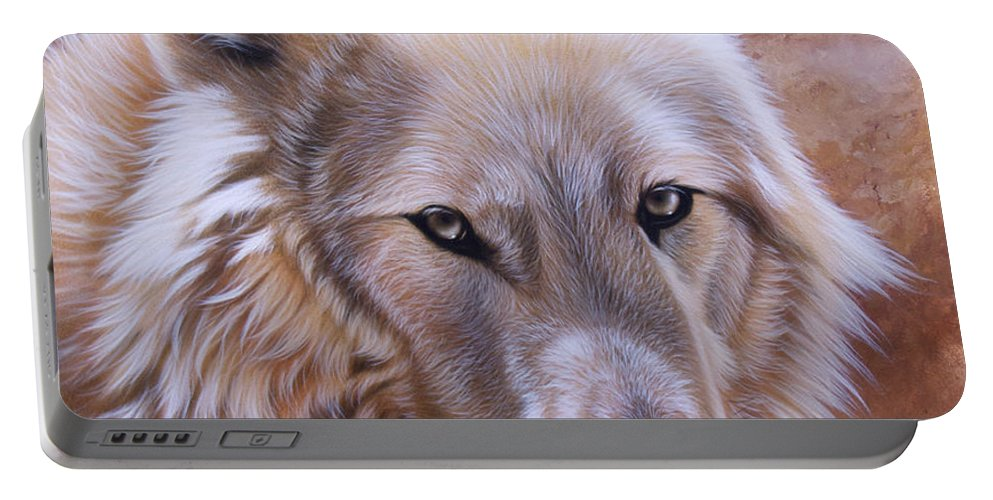 Acrylic Portable Battery Charger featuring the painting Shine by Sandi Baker