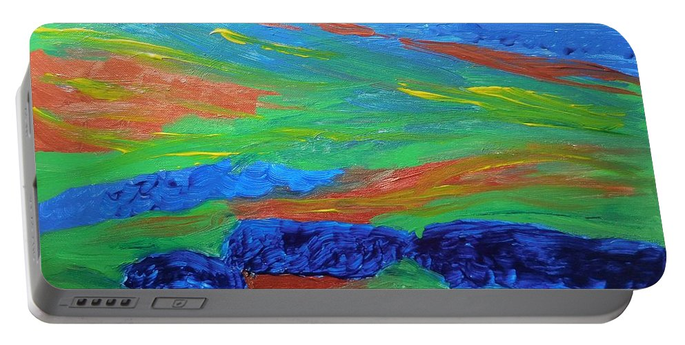Abstract Portable Battery Charger featuring the painting Shinning Sea by Tember Smith