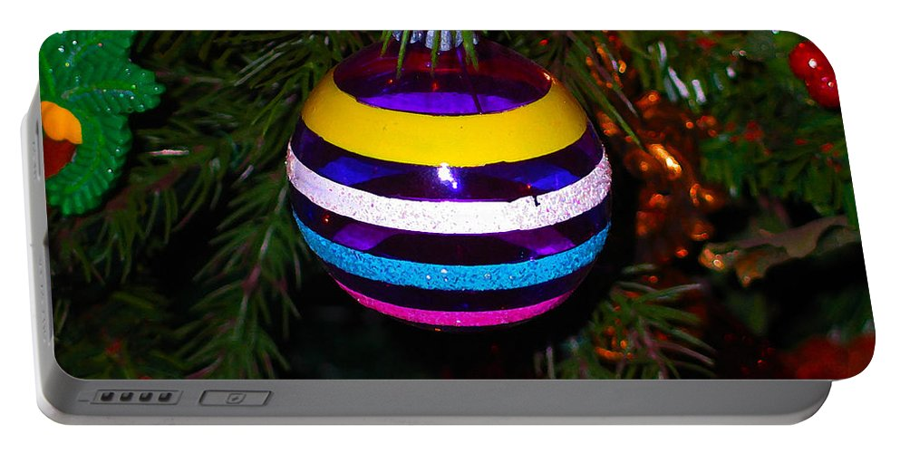 Ornament Portable Battery Charger featuring the photograph Shinny Brite Ornament by Susan Vineyard