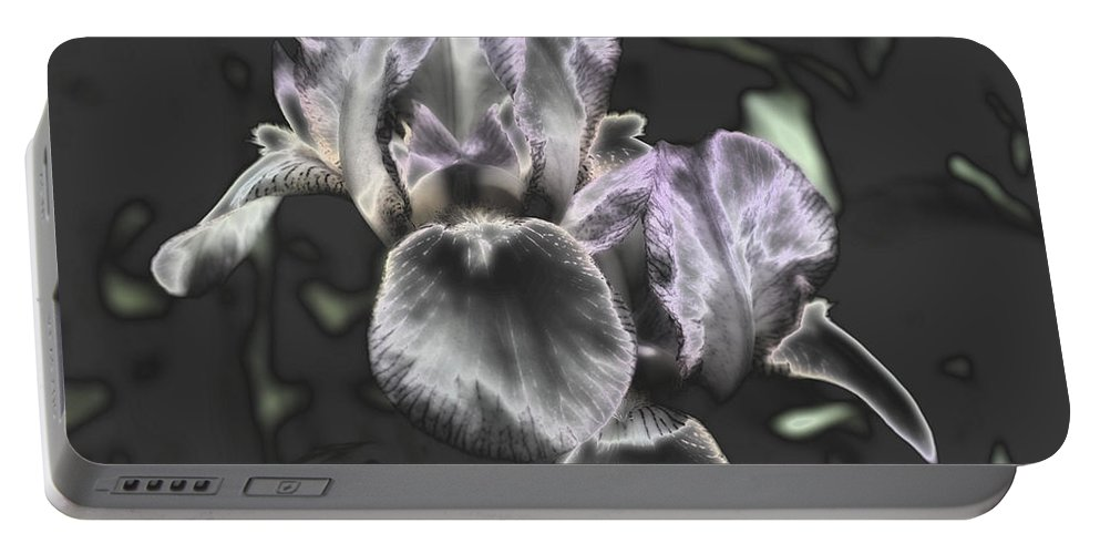 Flower Portable Battery Charger featuring the photograph Shiny Irises by Smilin Eyes Treasures