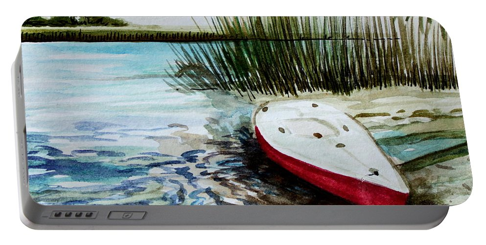 Landscape Portable Battery Charger featuring the painting Ship Ahoy by Elizabeth Robinette Tyndall