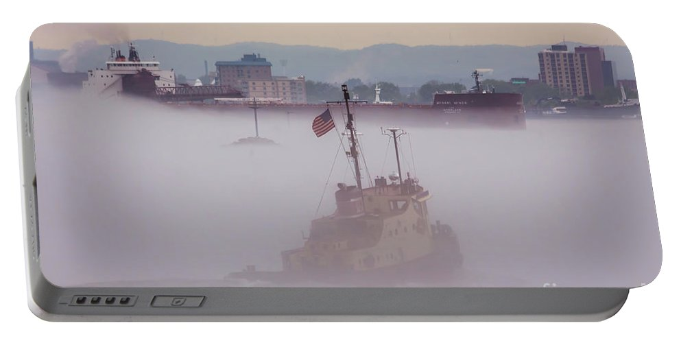 Ship Portable Battery Charger featuring the photograph Ship Mesabi Miner Fog Sault Michigan -8759 by Norris Seward