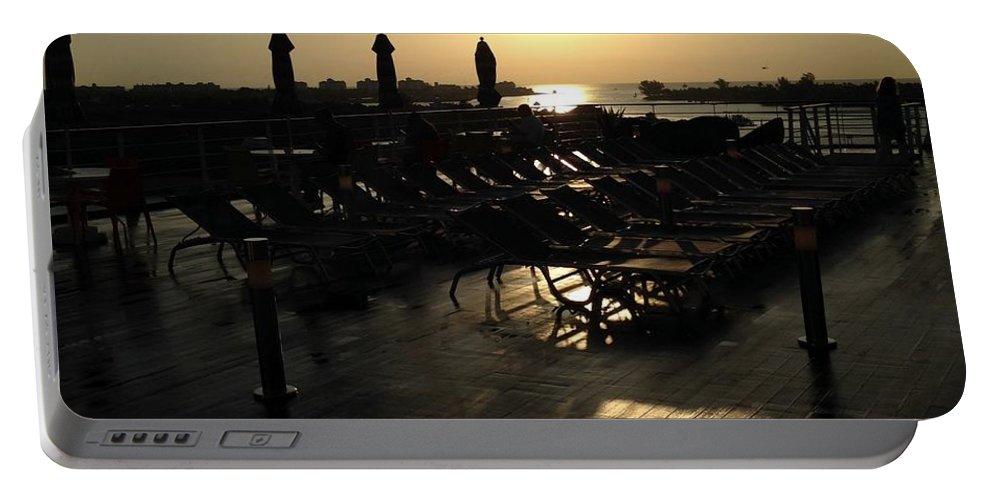 Ship Portable Battery Charger featuring the photograph Ship sunrise by Shari Chavira