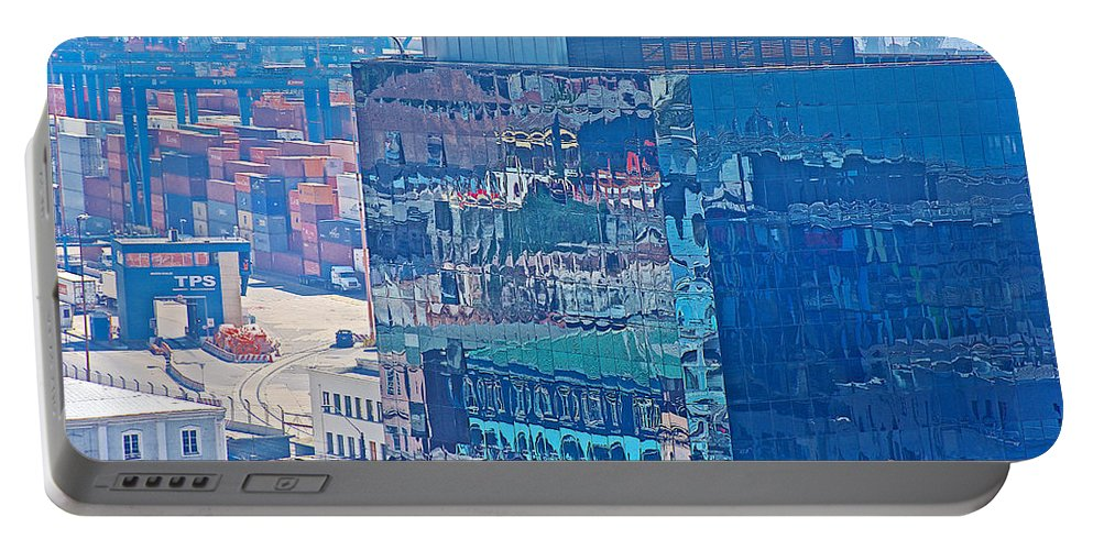Shipping Containers And Building Windows Reflecting Graffiti Art Of Valparaiso Portable Battery Charger featuring the photograph Shipping Containers And Building Windows Reflecting Graffiti Art Of Valparaiso-chile by Ruth Hager