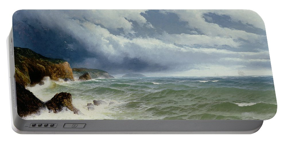 Shipping In Open Seas Portable Battery Charger featuring the painting Shipping In Open Seas by David James