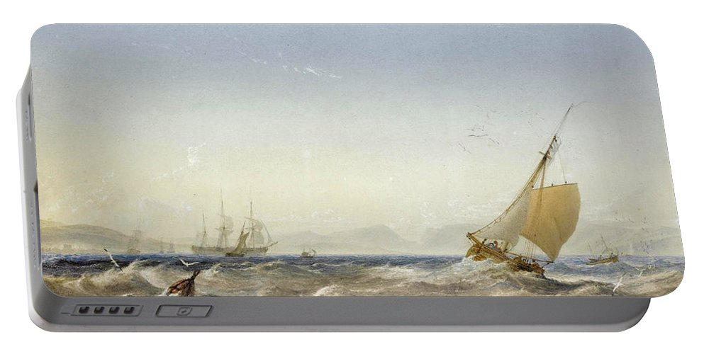 Anthony Vandyke Copley Fielding Portable Battery Charger featuring the drawing Shipping Off The Coast by Anthony Vandyke Copley Fielding