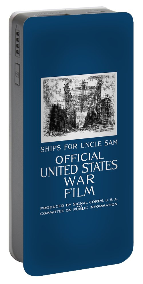 War Films Portable Battery Charger featuring the painting Ships For Uncle Sam - Ww1 by War Is Hell Store