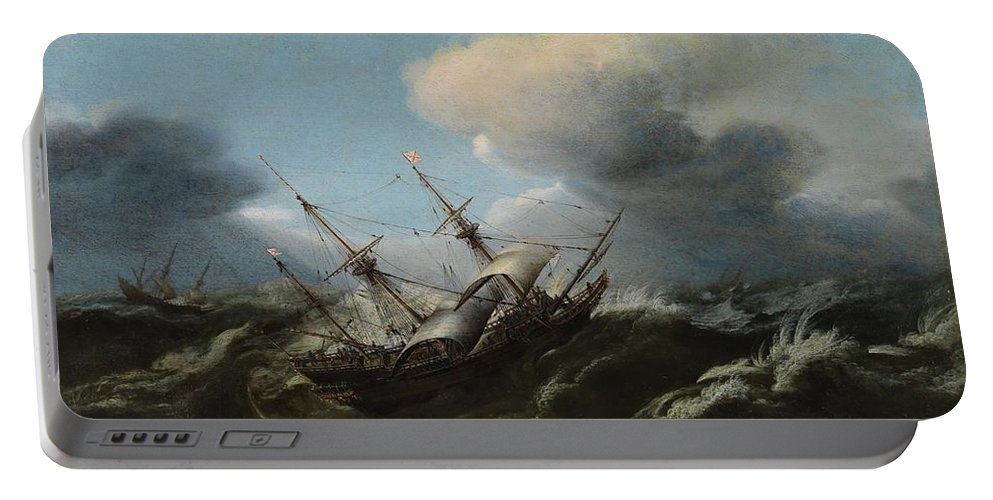 Wou Portable Battery Charger featuring the painting Ships In A Storm by MotionAge Designs