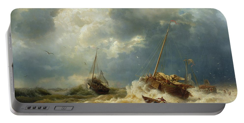 Boat Portable Battery Charger featuring the painting Ships In A Storm On The Dutch Coast by Andreas Achenbach