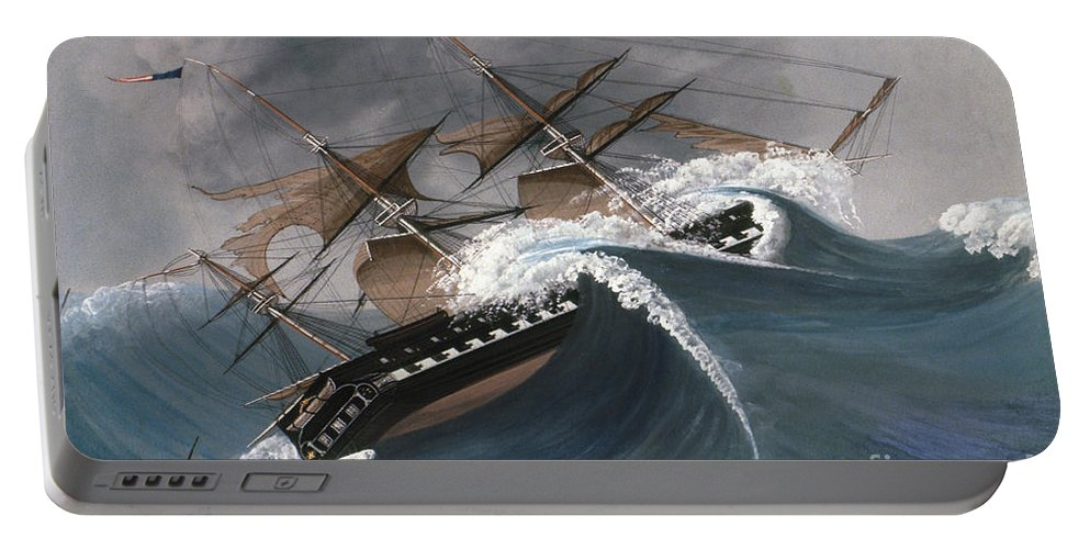 18th Century Portable Battery Charger featuring the photograph Shipwreck by Granger