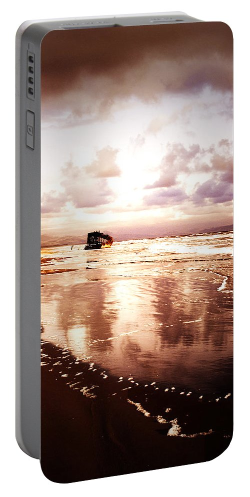 Ocean Portable Battery Charger featuring the photograph Shipwrecked 2 by Tara Turner