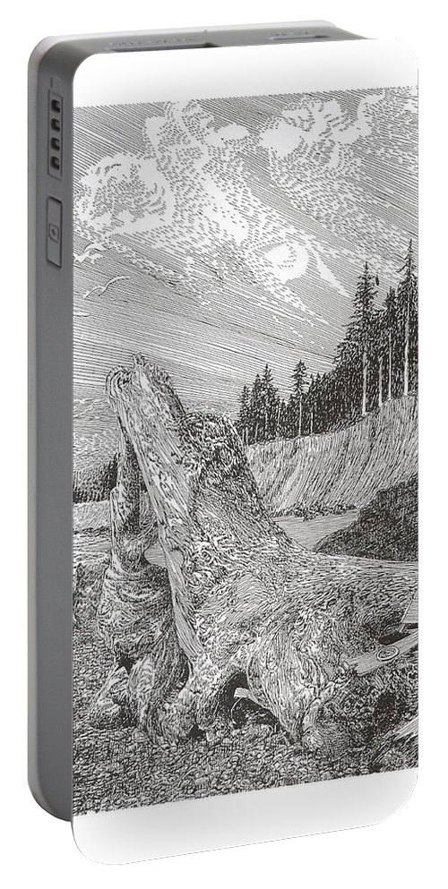 Nautical Marine Driftwood Portable Battery Charger featuring the drawing Shipwrecked by Jack Pumphrey
