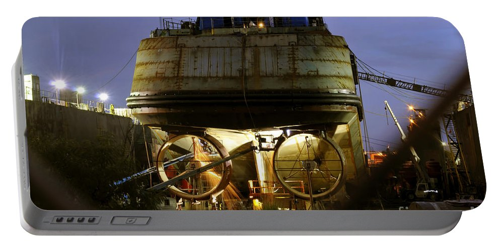 Shipyard Portable Battery Charger featuring the photograph Shipyard Work by David Lee Thompson