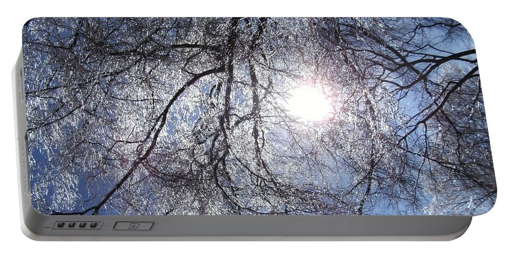 Sun Portable Battery Charger featuring the photograph Shivering Timbers by Charleen Treasures