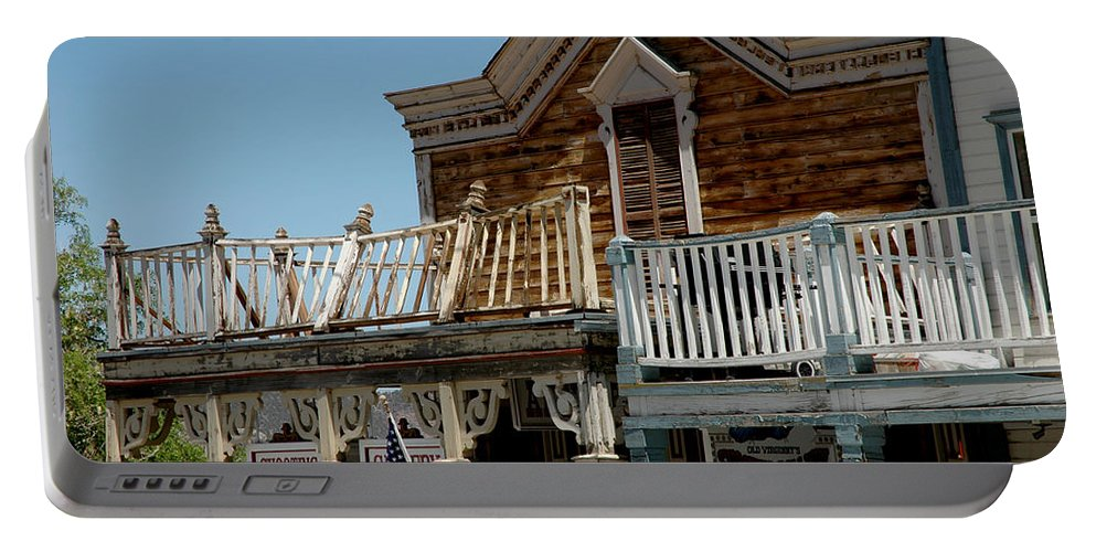Usa Portable Battery Charger featuring the photograph Shooting Gallery Virginia City Nv by LeeAnn McLaneGoetz McLaneGoetzStudioLLCcom