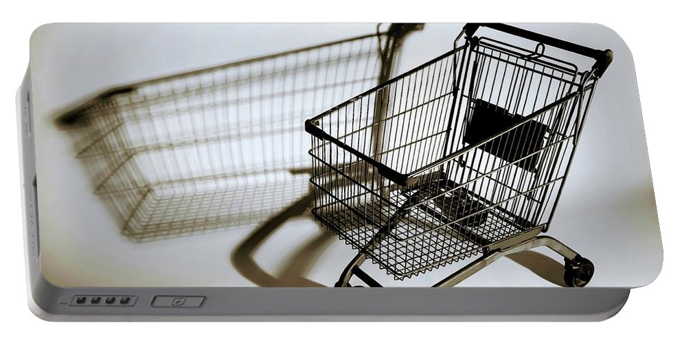 Shopping Cart Portable Battery Charger featuring the photograph Shopping Cart Reflection Art by Sheila Mcdonald
