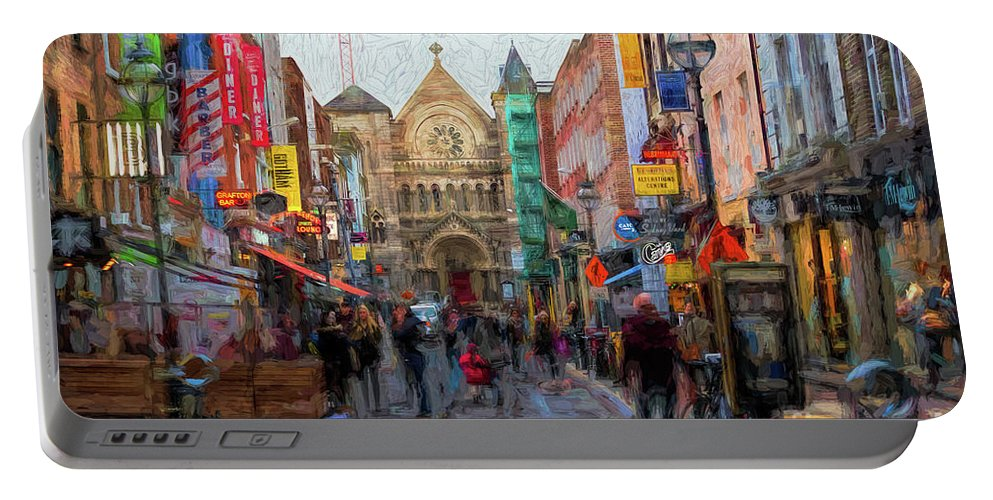 Dublin Portable Battery Charger featuring the digital art Shopping In Dublin by Les Palenik