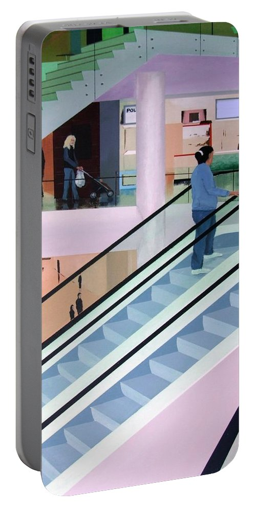 Shopping Portable Battery Charger featuring the painting Shopping Mall by Tony Gunning