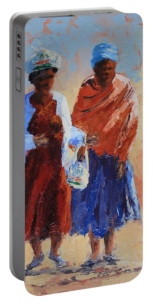 Figures Portable Battery Charger featuring the painting Shopping by Yvonne Ankerman