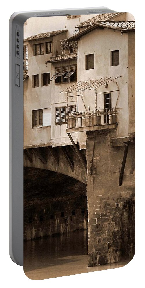 Shops Portable Battery Charger featuring the photograph Shops On The Ponte Vecchio by Donna Corless