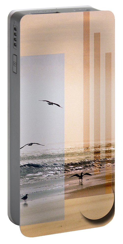 Abstract Portable Battery Charger featuring the photograph Shore Collage by Steve Karol