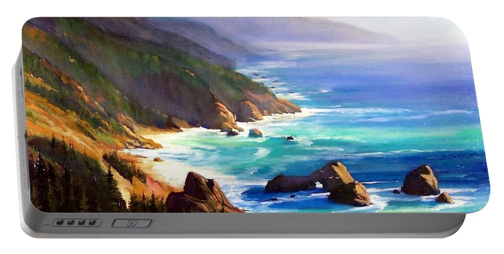 Seascape Portable Battery Charger featuring the painting Shore Trail by Frank Wilson