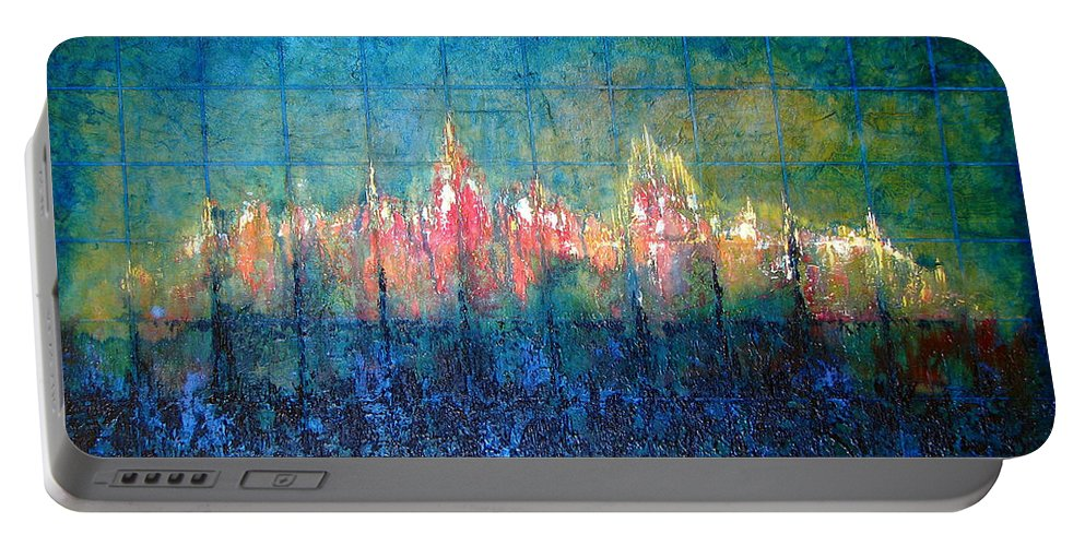 Seascape Portable Battery Charger featuring the painting Shorebound by Shadia Derbyshire