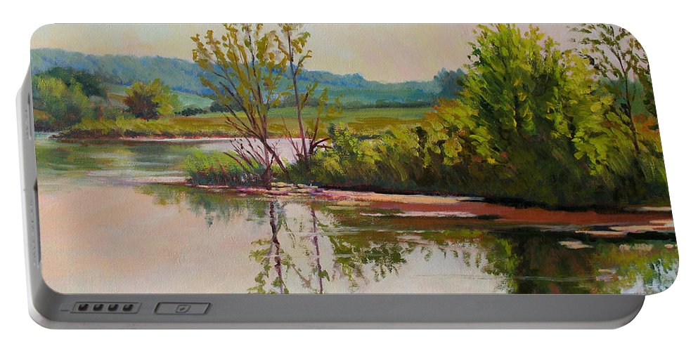 Impressionism Portable Battery Charger featuring the painting Shoreline At Evening by Keith Burgess